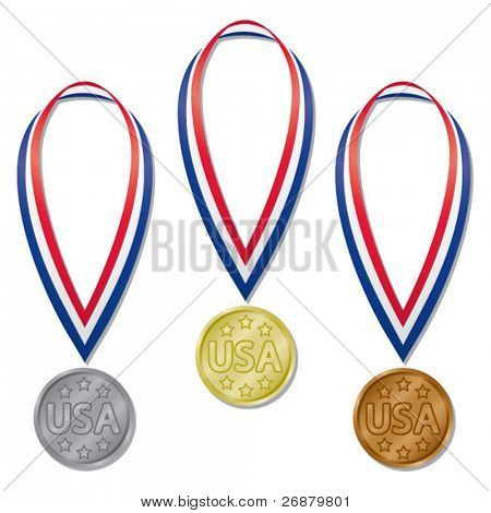 Three medals in gold, silver, and bronze with red, white, and blue ribbons