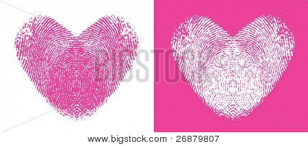 Two cute heart thumbprints, one pink and one white