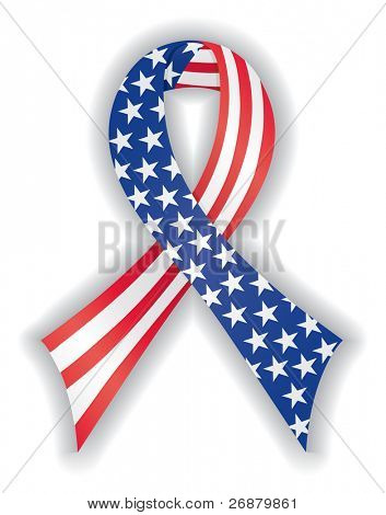 Image version of smooth, satin, American flag awareness ribbon representing freedom