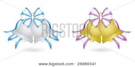 Two sets of sparkling wedding bells: silver bells with blue and white ribbon and gold bells with purple and white ribbon