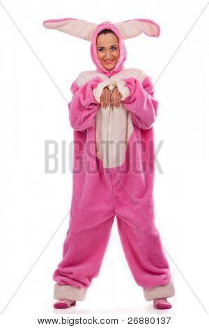 Funny pink rabbit  isolated on white background