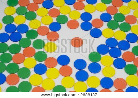 Colourfull Counters On A White Background