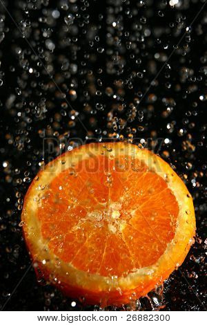water splash and fruit