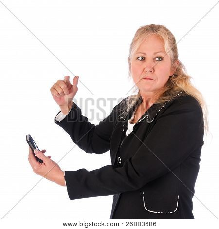 Angry Adult Woman With Cellphone