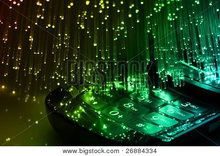 Fiber optics background with lots of blue light spots