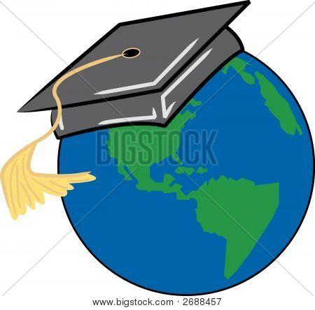 Erde mit Graduation Cap auf