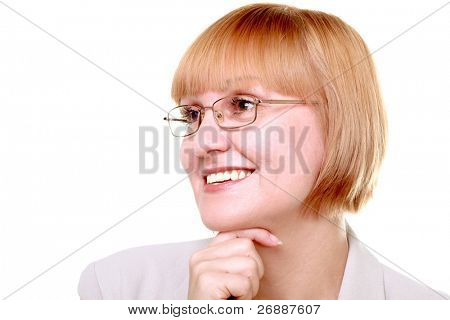 Dreamy closeup portrait of a redhair businesswoman wearing glasses against white background