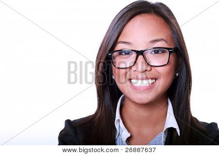 Smiling asian businesswoman isolated on white background