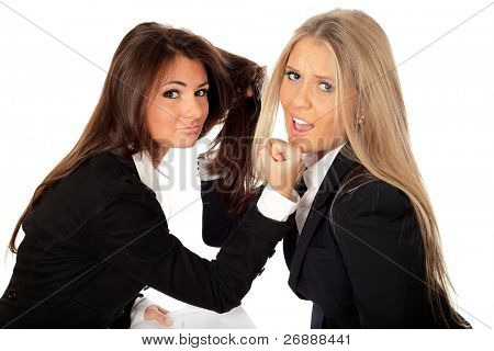 2 businesswomen collegues fighting isolated on white