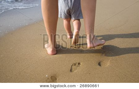 Mother And Child Walking On A Sandy Beach