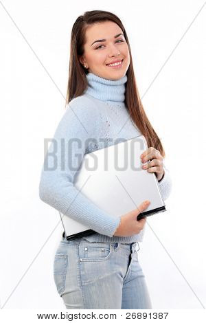 A beautiful young women hugging her portable computer