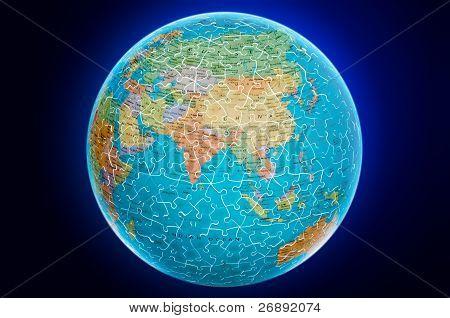 Ilustração de quebra-cabeça do Ásia terra globo