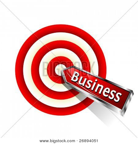 Concept business icon.  Red dart hitting a target. Vector sign.