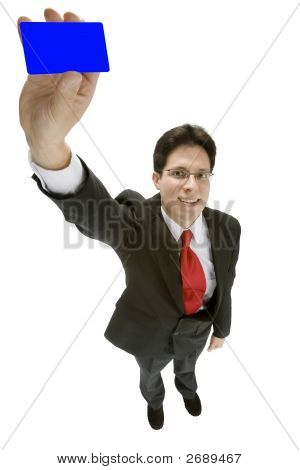 Business Man Holding Up A Card