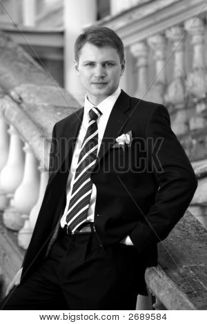 Handsome Groom In Wedding Suit