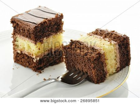 A chocolate fudge layer cake