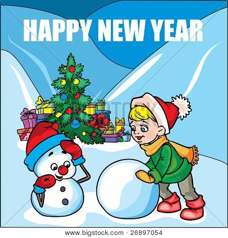 New Year card with Boy and Snowman