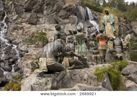 Statue Of Virgin Mary Appearing To Juan Diego Guadalupe Shrine Mexico City