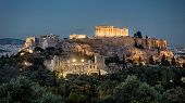 Night Panoramic View Of Acropolis, Athens, Greece. Famous Acropolis Hill Is The Main Landmark Of Ath poster