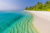 Perfect Tropical Landscape, Exotic Beach Scene. Shallow Blue Green Water Of The See, White Sand And  poster