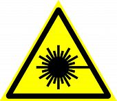 Triangle Sign: laser Radiation. Triangle Sign: laser Emission. Sign: laser Radiation On A Gray poster