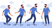 Flat Design  Ready To Animation Characters  Ready To Animation  Characters Of Man With Skateboard. F poster