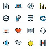 Media Icons Colored Line Set With Setting, Media Server, Monitor And Other Playlist Elements. Isolat poster