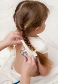 picture of cute little girl  - Listening of little girl by stethoscope - JPG