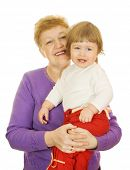 picture of nana  - Smiling baby with her grandma isolated on white - JPG