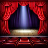Theater Or Concert Hall Stage With Opened Red Curtains, Spotlight Beam Spot In Center And Empty Visi poster