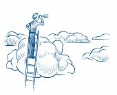 Business Vision. Businessman With Telescope Standing On Ladder Among Clouds. Successful Future Achie poster