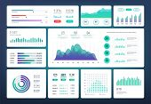 Infographic Dashboard Template. Simple Green Blue Design Of Interface, Admin Panel With Graphs, Char poster