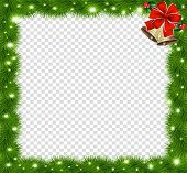 Realistic Vector Fir-tree Square Border, Frame With Red Bow And Bells Isolated On Transparent Backgr poster