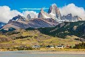 River Rio de las Vueltas near El Chalten town and mountain panorama with Fitz Roy peak at Los Glacia poster