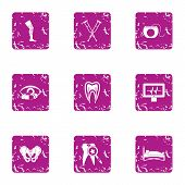 Aid Post Icons Set. Grunge Set Of 9 Aid Post Vector Icons For Web Isolated On White Background poster