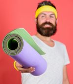 Join My Stretching Program. Stretching And Pilates Concept. Athlete Sport Coach. Man Bearded Athlete poster