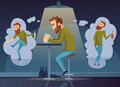 Alcoholism Concept. Addicted Man Alcoholic Dark Depression Drinking Alcohol Vodka Beer Whiskey Socia poster