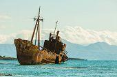 Greek Coastline With The Famous Rusty Shipwreck Dimitrios In Glyfada Beach Near Gytheio, Gythio Laco poster