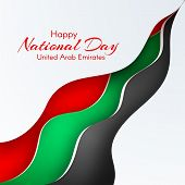 Banner With Wavy Lines Waveform Colors Of The National Flag Of United Arab Emirates Uae With The Tex poster
