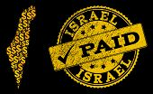 Golden Combination Of Dollar Mosaic Map Of Israel And Paid Scratched Seal. Vector Imprint With Scrat poster