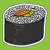 Roll Sushi. Vector Japanese Food Sushi Roll. Hand Drawn Sushi. poster