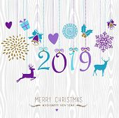 Merry Christmas And Happy New Year 2019 Hanging Vintage Xmas Ornaments, Hipster Wood Background. Ide poster