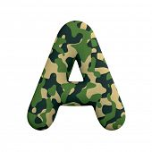 Army letter A - Capital 3d Camo font isolated on white background. This alphabet is perfect for crea poster