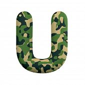 Army letter U - Upper-case 3d Camo font isolated on white background. This alphabet is perfect for c poster