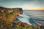 Overview panorama ocean shore, cliff. Sunset. Bali. Overwhelmed scene the flower and green-capped ve poster