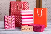 Variety Of Paper Shopping Bags. Colored Paper Bags And Card With Inscription Bonus. Get Bonus Concep poster