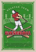 Baseball Player With Bat, Retro Poster. Sport League Championship Or Tournament Cup. Vector Vintage  poster