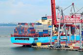 stock photo of container ship  - View on trading seaport with cranes - JPG