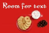 Hot Chocolate. Hot Coco in a glass mug with whip cream, cookies and text. Red Christmas background.  poster