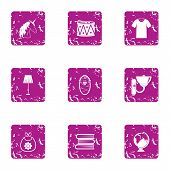 School Uniform Icons Set. Grunge Set Of 9 School Uniform Vector Icons For Web Isolated On White Back poster